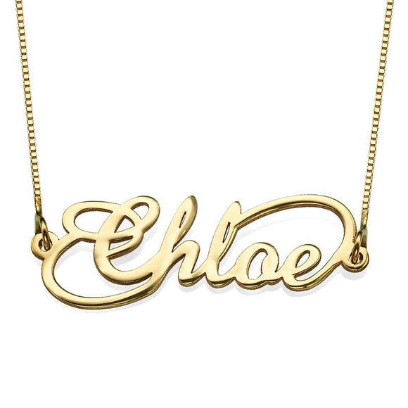 Infinity Style Name Necklace in 14K Solid Gold - My Family Necklace