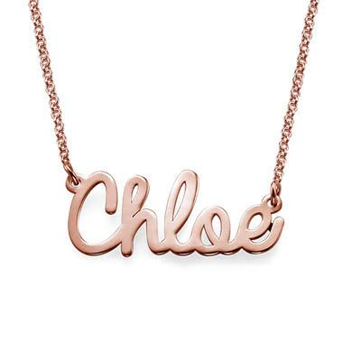 Cursive Name Necklace in 18K Rose Gold Plating - My Family Necklace