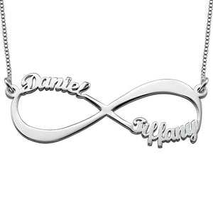 Sterling Silver Infinity Necklace with Two Names - My Family Necklace