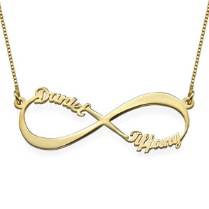 Infinity Necklace in 18K Gold Plating with Two Names - My Family Necklace
