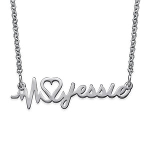 Signature Custom Heartbeat Name Necklace - My Family Necklace