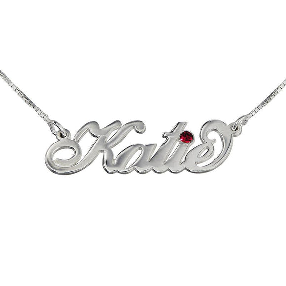 Silver Name Necklace Carrie Style with Swarovski - My Family Necklace