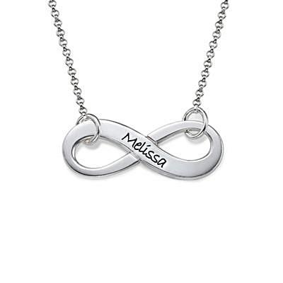 Engraved Silver Infinity Name Necklace - My Family Necklace