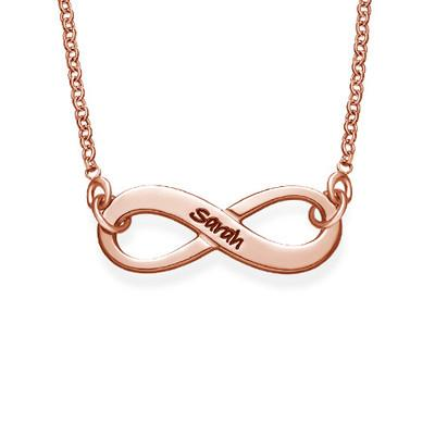Engraved Infinity Name Necklace in Rose Gold Plating - My Family Necklace