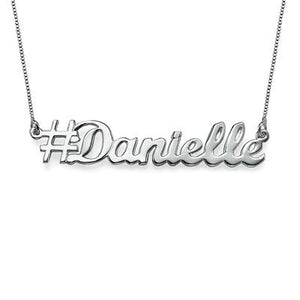 Hashtag Name Necklace in Sterling Silver - My Family Necklace