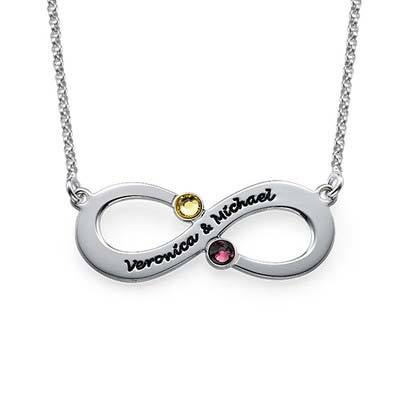 Couple's Infinity Name Necklace with Birthstones - My Family Necklace