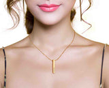 3D Engraved Bar Necklace in 18K Gold or Rose Gold Plating