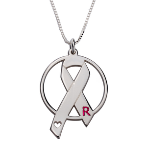 Breast Cancer Circle Necklace with Initial in Sterling Silver - My Family Necklace