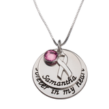Breast Cancer Necklace with Engraved Name and Swarovski Stone - My Family Necklace