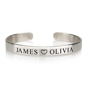 Engraved Name Bangle in Sterling Silver