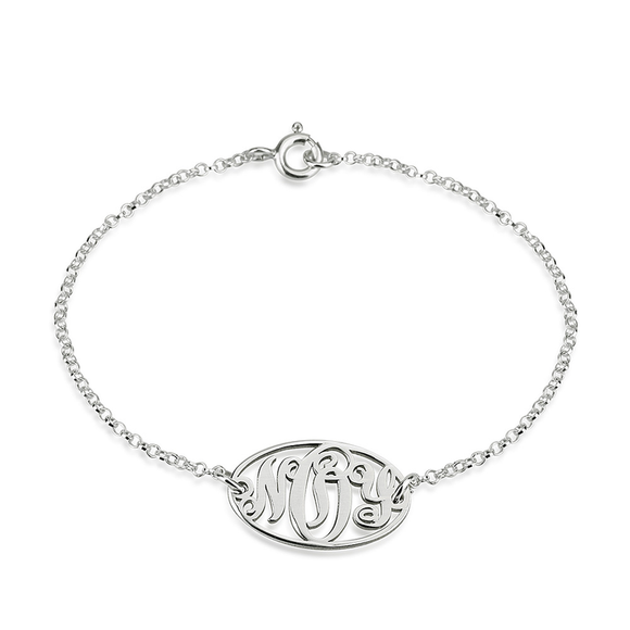 Dainty Monogram Bracelet in Sterling Silver