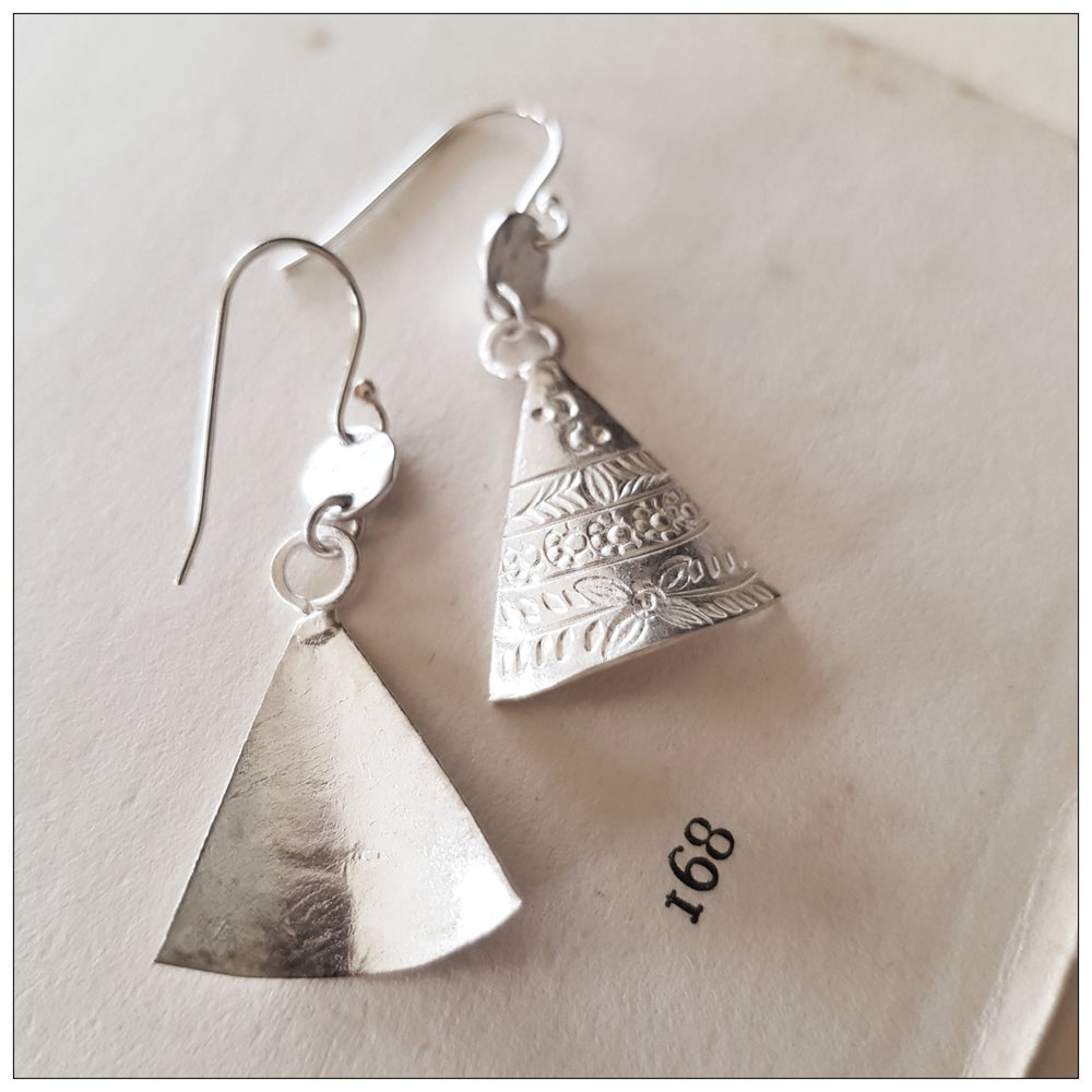 Paird Etched Silver Shield Earrings
