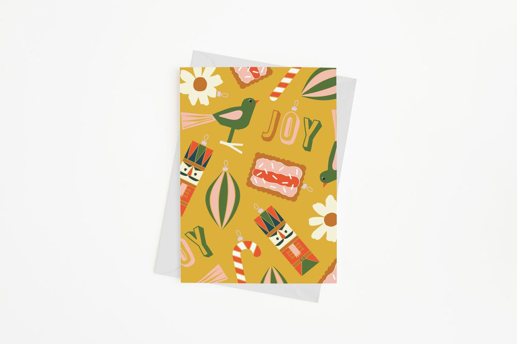 Mustard Ornaments Card