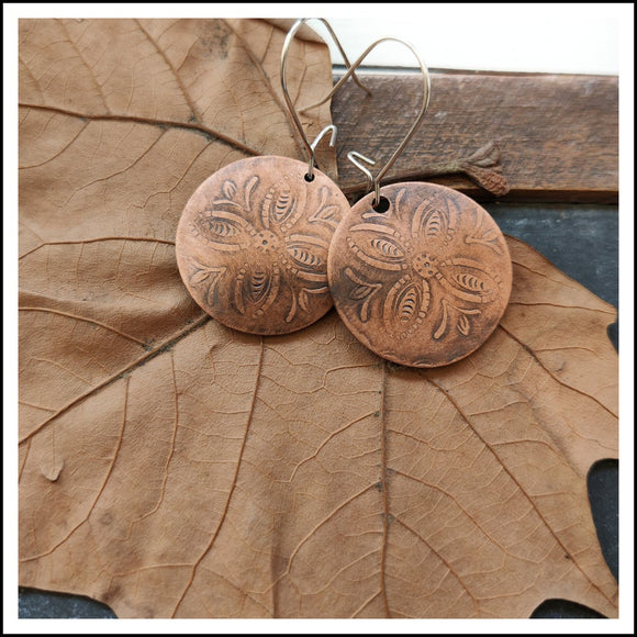 Paird Tribal Print Copper Disk K/Wires