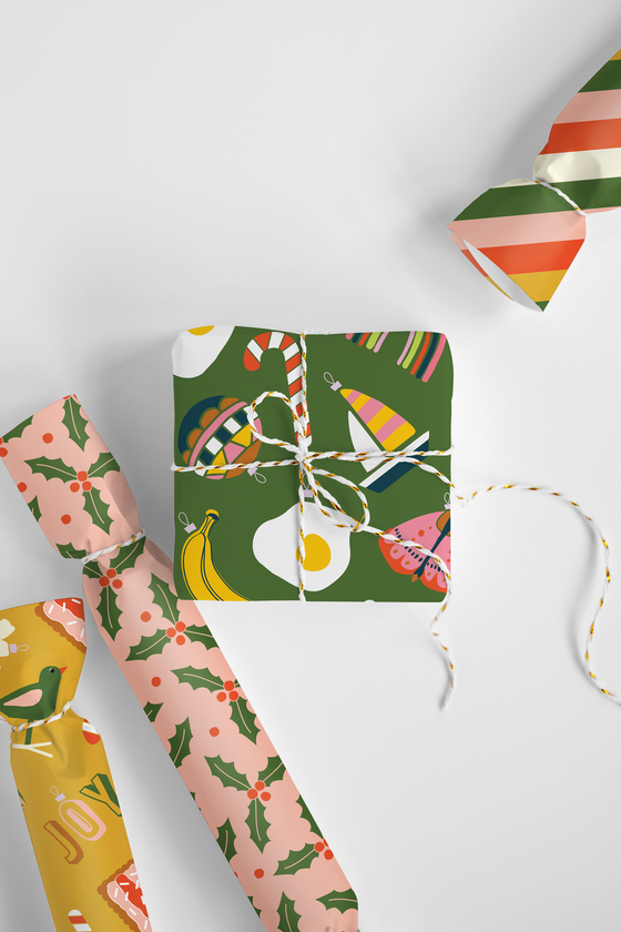 'HOLLY JOLLY' Christmas Wrapping Paper