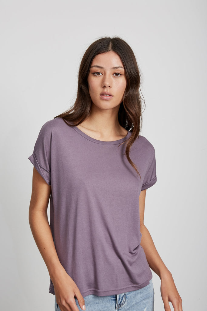 Roll Sleeve Tee - Grape