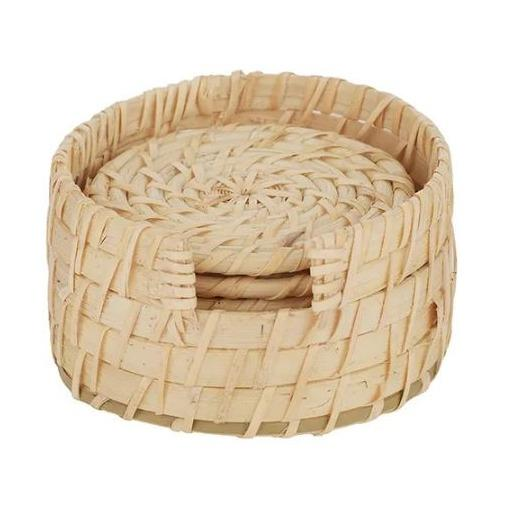 Borocay Rattan Coasters with holder - Set 6