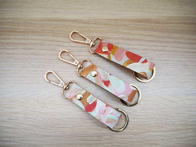 Cassia Hand Painted Leather Keyring