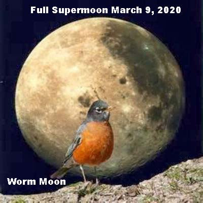 Full Supermoon March 9, 2020 in Virgo. The Worm Moon
