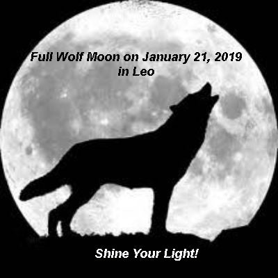 Full Wolf Moon on January 21, 2019 in Leo