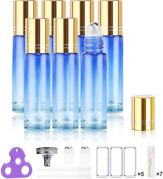 Gradient Blue Roller Bottles for Essential Oils