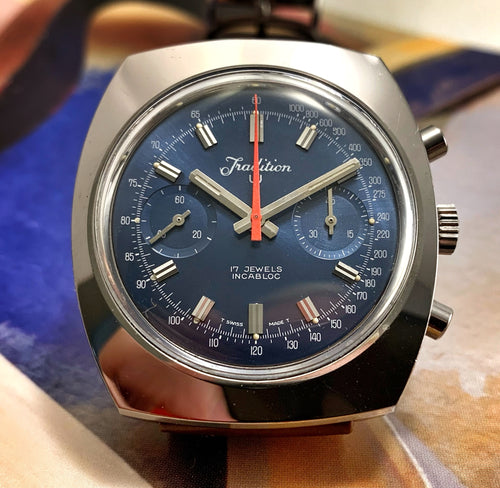 MINTY~70s DARK BLUE SANDOZ/TRADITION VALJOUX 7733 CHRONOGRAPH