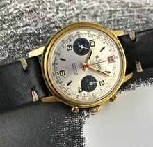 "SNAZZY~60s LEJOUR ""DATE AT 12"" PANDA CHRONOGRAPH"