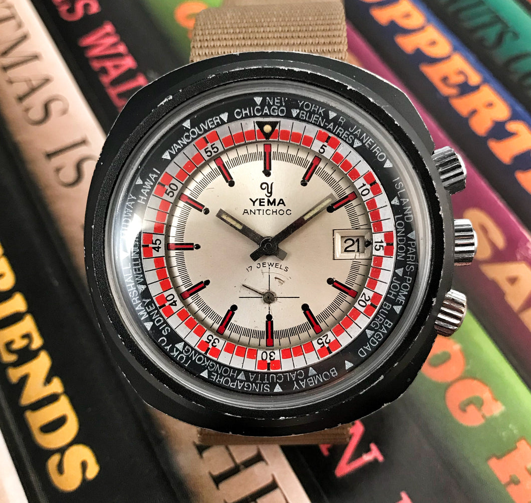 TUBBY~70s YEMA 3-CROWN WORLD-TIMER DIVER