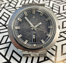 SPACEY~70s CYMA BY SYNCHRON BARK DIAL DAY/DATE NAVYSTAR