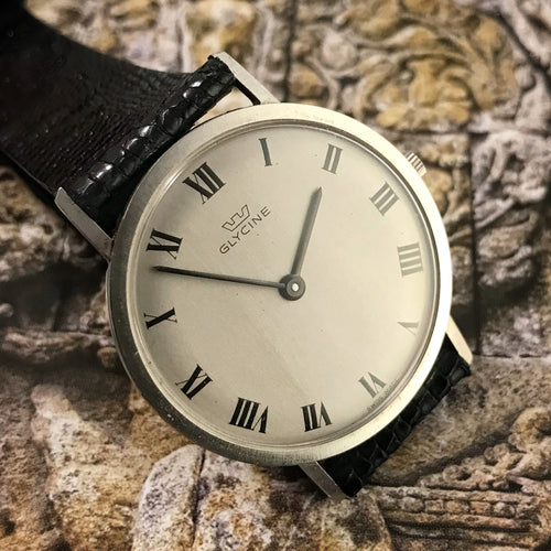 ELEGANT~LATE 60s ULTRA-THIN GLYCINE DRESS WATCH