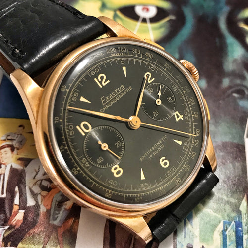 GLORIOUS~1950s EXACTUS 18K SOLID ROSE GOLD GILT DIAL CHRONO