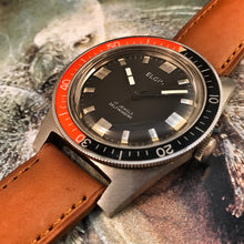 NEAR MINT~LATE 60s ELGIN ORANGE/BLACK BEZEL NO DATE DIVER