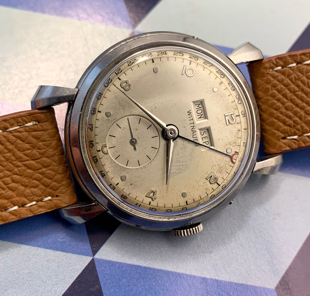 HANDSOME~LARGE EARLY 50s WITTNAUER CAL.77 TRIPLE DATE