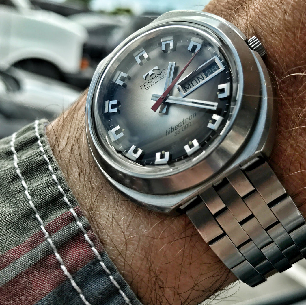 SERVICED~70s TECHNOS HIBEATRON 36000 AUTO~BOX&PAPERS – RETROWATCHGUY