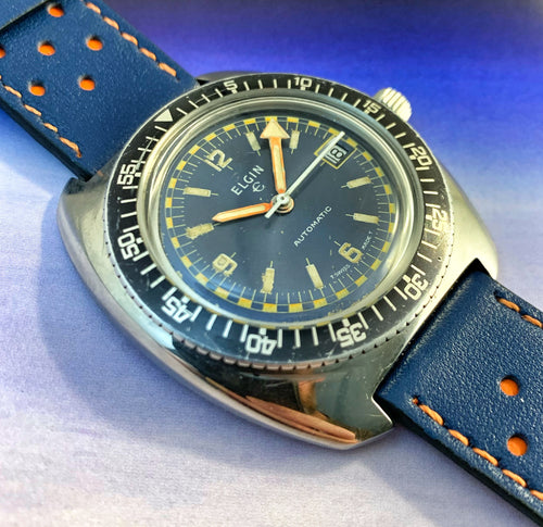 TOUGH~EARLY 70s ELGIN RALLYE DIVER~SERVICED