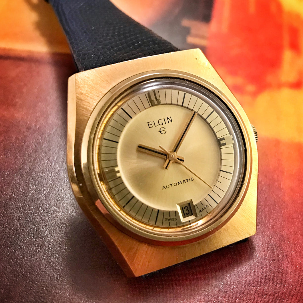 DEADLY~70s GOLD ON GOLD ELGIN AUTOMATIC~SERVICED