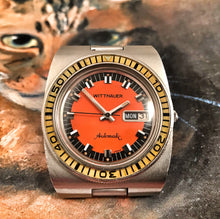 PSYCHEDELIC~70s WITTNAUER W100 AUTOMATIC PUMPKIN DIVER