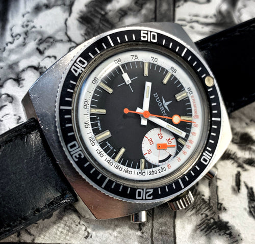 MACHO~LATE 60s DUGENA BIG-EYE DIVE CHRONOGRAPH
