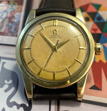 GORGEOUS~1950 OMEGA SOLID GOLD OVER STEEL CAL.351 BUMPER AUTO