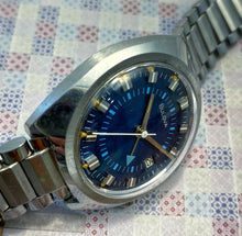 FUNKY~1973 BLUE BULOVA MANUAL WIND ALARM~ORIGINAL BRACELET