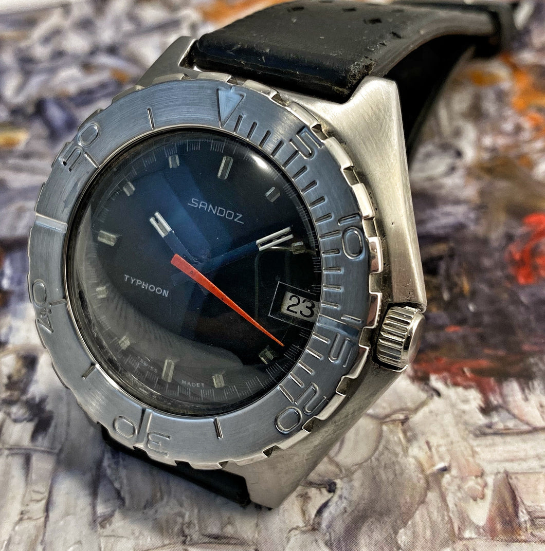BADASS~EARLY 70s SANDOZ TYPHOON 1000M MIL-DIVER