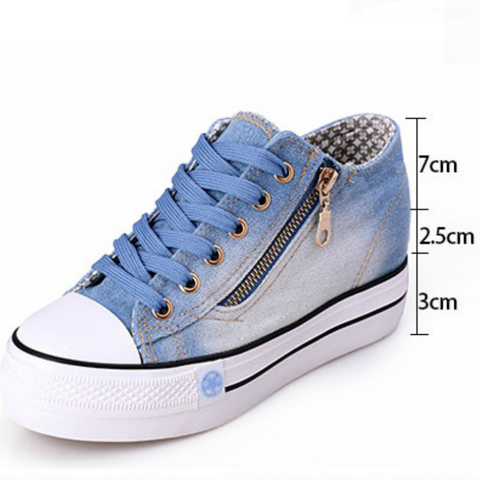 Fashion Sneakers Jeans Plataforma