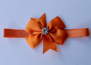 Orange Rhinestone Headband