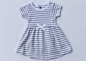 White and Gray Stripe Dress
