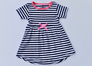 Navy Stripe Dress with Pink Accent