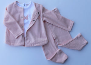 Pink Butterfly Velour Set