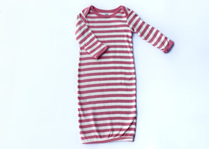 Thick Pink Stripe Elastic Bottom Nightgown