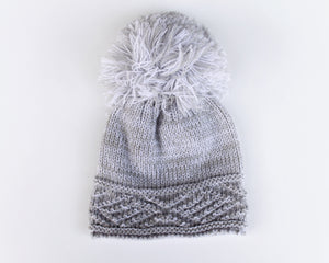 Baby Gray Knit Pom Hat