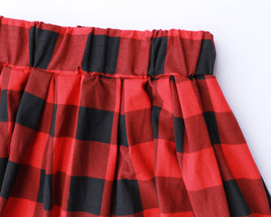 Red & Black Plaid Skirt