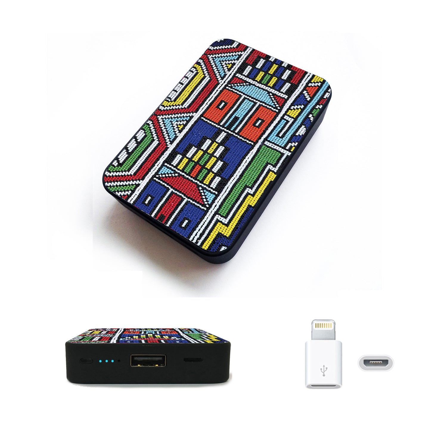 World's Smallest 10,000 mAh Power Bank - CHJGD Ultracompact (Afro Print)
